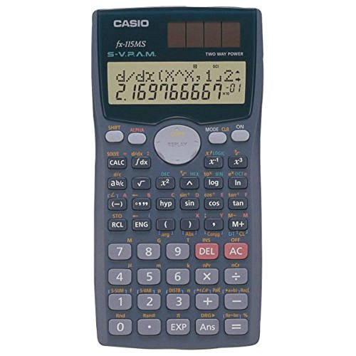 Scientific Calculator,2 Line Display,1'x3'x6',Silver, Sold as 1 each