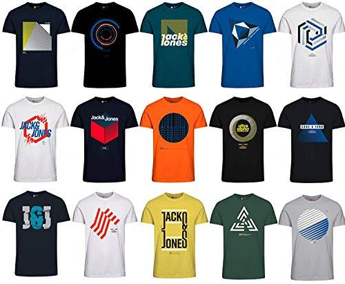 Jack and Jones Herren T-Shirt Slim Fit mit Aufdruck im 3er Oder 6er Mix Pack/Set mit Rundhals Marken Sale S M L XL XXL (9er Mix Pack, L)