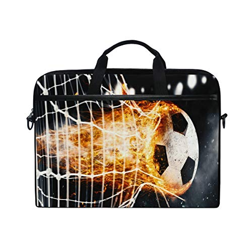Laptop Case, Soccer Fireball Pattern Computer Sleeve Protective Bag 3 Layer with Durable Zipper for Lenovo Hp MacBook Pro Neoprene Notebook 14 15 15.4 inch