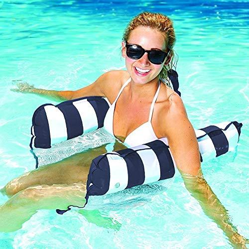 MQW Piscina de agua de mar de juguete para adultos con respaldo plegable de doble fila flotante, sofá de cama flotante de 130 x 65 cm (color: negro)