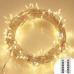 [Remote Control and Timer] 100er LED Outdoor Fairy Lights Battery Operated Warm White (8 Modes, IP65 Waterproof, Outdoor Lighting)