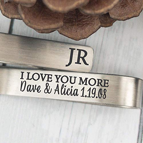 Husband Gift Idea Personalized I Love You More Tie Clip Husband Tie Bar For Boyfriend Gift Personalized Tie Clip Gift Anniversary Tie Bar LOVE-YOU-MORE-TIE