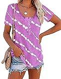 T-Shirt Mujer Verano Chic Cuello Redondo Tops Mujer Rayas Diagonales Botón Decoración Manga Corta Blusa Mujer Slim Moda Tendencia Fiesta Camiseta Mujer F-Purple XL
