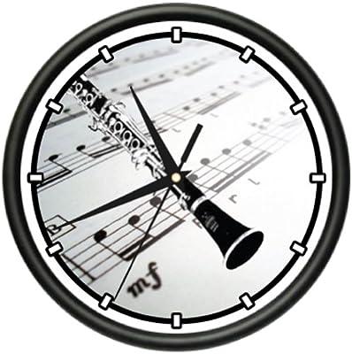 Clarinet Wall Clock Music Teacher School Band Reeds
