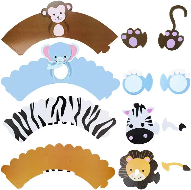 Useful Max 67% OFF 24pcs 12 Sets Lovely Cupcake Patterns Wra Cartoon Charlotte Mall Animals