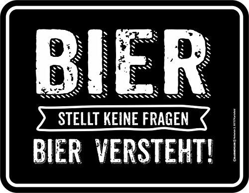 RAHMENLOS Original Blechschild: Bier stellt Keine Fragen, Bier ist die Antwort!