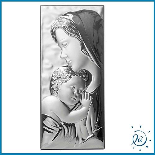 Albalù Italia | Idee regalo e bomboniere Icona Sacra Madonna con Bambino Maternita' Verticale A Filo Laminato Misura 16X35 cm
