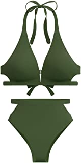 High Waisted Swimsuit Bikini for Women High Rise Cutout Bottom V Neck Top Halter 2 Piece Bathing Suits