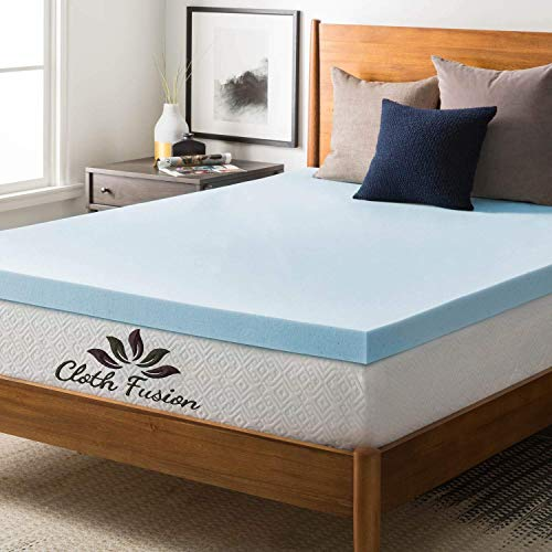 "Cloth Fusion Fruton 2 inch Gel Memory Foam Mattress Topper for Super King Size Bed (72""x 84""x2"",Sky Blue)"