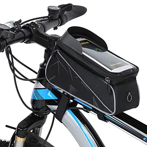 Bolsa reflectante de tubo superior para bicicleta, bolsa de almacenamiento de ciclismo de tela impermeable de grano de carbono con película de pantalla táctil sensible de TPU para...