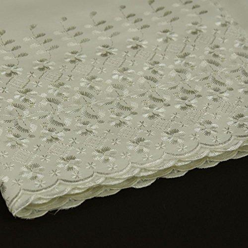 Stoff mit Lochstickerei und muschelförmigem Saum, doppelte Bordüre, Polyester und Baumwolle, Meterware, 150cm breit, elfenbeinfarben