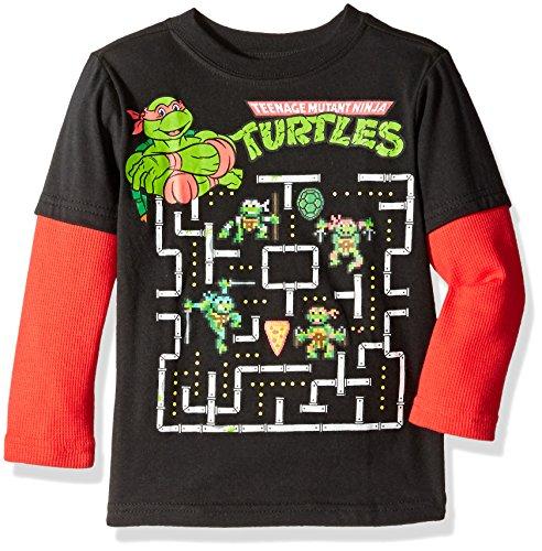 Teenage Mutant Ninja Turtles Boys' Long Sleeve Two-Fer T-Shirt with Thermal Sleeves
