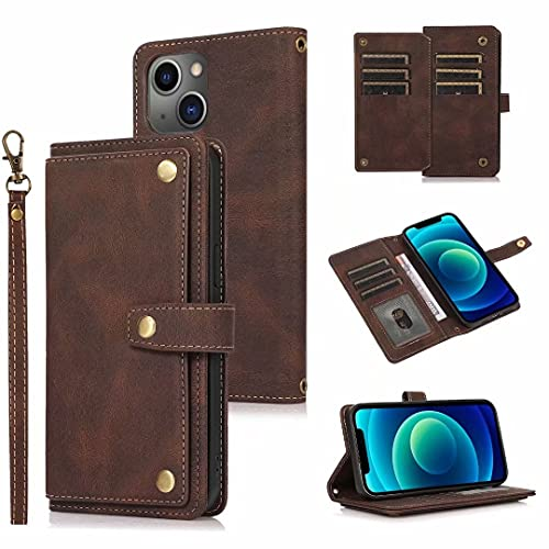 Funda tipo cartera para Samsung Galaxy S9 Plus, para Samsung Galaxy S9 Plus, funda de piel con cierre de cremallera, con función atril, bolsillo para dinero y correa para la muñeca, color marrón