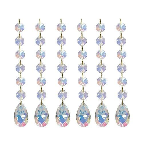 Poproo Teardrop Pendants Octagon Crystal Glass Beads Pendant for Chandelier Lamp Curtain Decor, 6-Pack (AB)