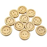 Bottoni in legno, 100 pezzi, con fibbia rotonda per cucire e fare artigianato decorativo, colore legno