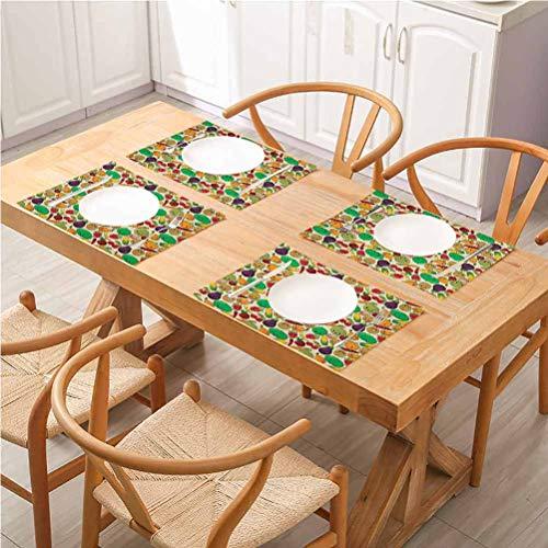 FloraGrantnan - Manteles individuales lavables y duraderos, varios vegetales y frutas con Kawaii F, antideslizantes y absorbentes, juego de 4