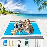 SunAurora Alfombra de Playa,Manta de Playa Anti-Arena Impermeable,Manta Picnic Portátil para Playa Acampar y Otra Actividad al Aire Libre,con Fijación de Clavos,Ganchos,Bolsas Teléfonos Móviles