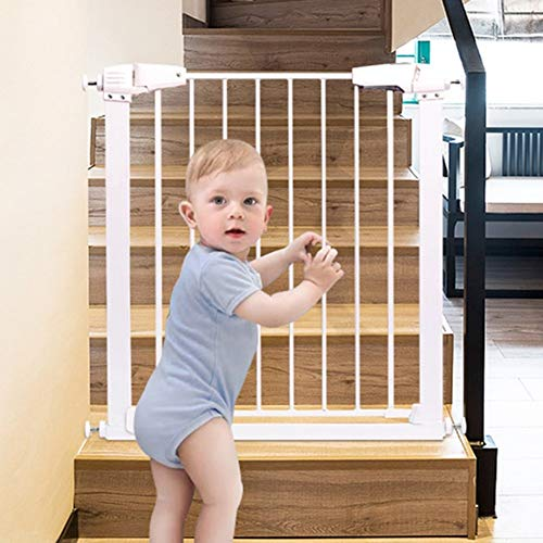 Porte-bébé Extra Large pour Portes Safety 1st Porte escamotable pour Animal de Compagnie Ajustable 65-138cm en métal Blanc (Taille: 87-93cm)
