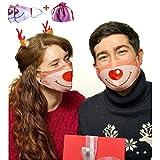 Holiday Masks Reusable | Christmas Masks 2 Pack + 1 Bag | Rudolph Mask Washable with Adjustable Straps (Reindeer Dream)