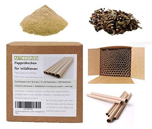 aktiongruen Pappröhrchen Wildbienenhotel Insektenhotel Bastelsachen (250 Stück) 12cm mit Lehmpulver und Saatguttütchen