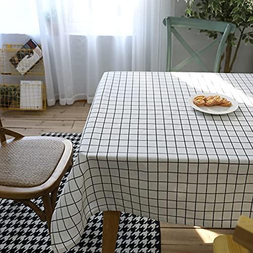 Aooaz Mantel Geometrico, Mantel Mesa Jardin Rectangular Sabana de Algodon 140X220cm Blanco Celosía Moderna Simple