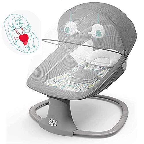 MENG TIAN Electric Baby Swing Bouncer Chair, RAL Sway in 5 Geschwindigkeiten und 3-stufige Timing-Funktion mit Fernbedienung Bluetooth-USB-Musik, für von Geburts- / Neugeborenen-Spielwaren