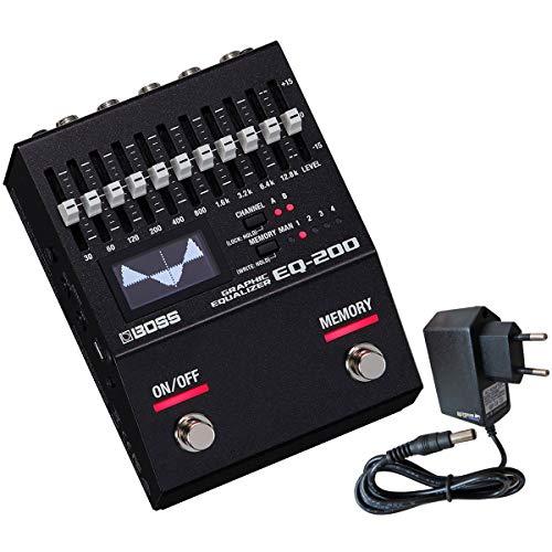 Boss EQ-200 - Ecualizador gráfico (incluye fuente de alimentación Keepdrum de 9 V)