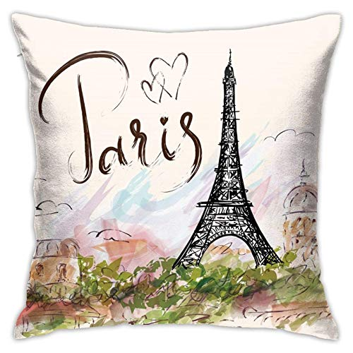 MZZhuBao France Paris French Eiffel Tower 18x18 Pillow Insert Decorative Sham Throw Pillow Inserts Square Cushion Stuffer for Bedroom, Living Room, Dining Room, Bay Window, Balcony, Car