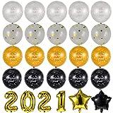 SOIMISS 26 Unids 2021 Globos de Fiesta de Graduación Set 2021 Globos de Número de Lámina de Oro Globos de Látex de Lentejuelas Suministros de Decoración de Fiesta de Felicitación