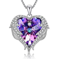 A timeless treasure, this glistening purple heart Swarovski crystal necklace is certain to win hers, it looks better than the pictures! Matching Earrings: https://amzn.to/2sUsXT5 A perfect Mothers Day Necklace Gift for Wife/Mom, the pendant features ...