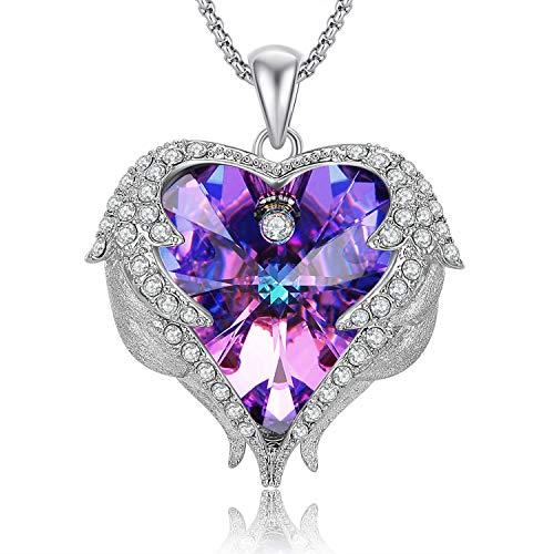 Caperci Angel Wings Purple Swarovski Crystal Heart Pendant Necklace - Mother