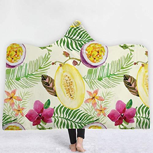 PANDAWDD deken knuffeldeken woondeken tropische planten passievrucht ananas 150 x 200 cm met capuchon deken - extra zacht en warm woondeken in de woonkamer vouwen bestendig/anti-verkleuring