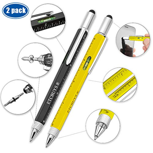 Screwdriver Pen Pocket Multi-Tool 6 in 1 - Multi-Functional & Sturdy Aluminium DIY Tool, met schroevendraaier, Stylus, Bubble Level, Ruler & Phillips FlatHead Bit, Uniek Gift Idea 2 (Black, Yellow)