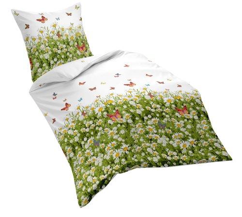 Fleuresse Mako-Satin-Bettwäscheset, frühlingshafte Blumenwiese, Farbe: bunt/weiß/grün, sommerliche Wohlfühl-Bettwäsche, 100% Baumwolle, 155x220 cm inkl. 1 x 80x80 Kissen