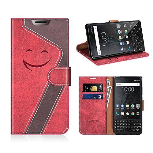 MOBESV Smiley BlackBerry Key2 Hülle Leder, BlackBerry Key2 Tasche Lederhülle/Wallet Hülle/Ledertasche Handyhülle/Schutzhülle für BlackBerry Key2, Rot/Dunkel Violett