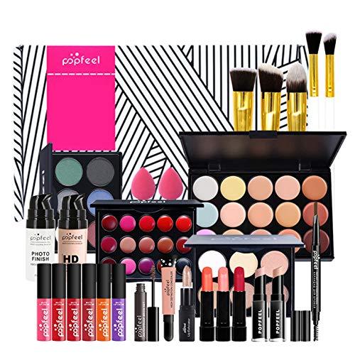 CHSEEA Schminkset Beauty Geschenk Set Cosmetics Schminkkoffer Concealer Lidschatten Palette Puder Lipgloss Lippenstift Kosmetik Make up Set für Gesicht, Augen und Lippen #5