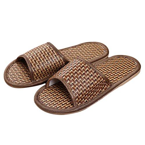 Shoe-yaoxing Natürliche Tropische Paarausgangspantoffelrebstrohbambus- und -Sommersandalen und -Pantoffel,Rattan,L