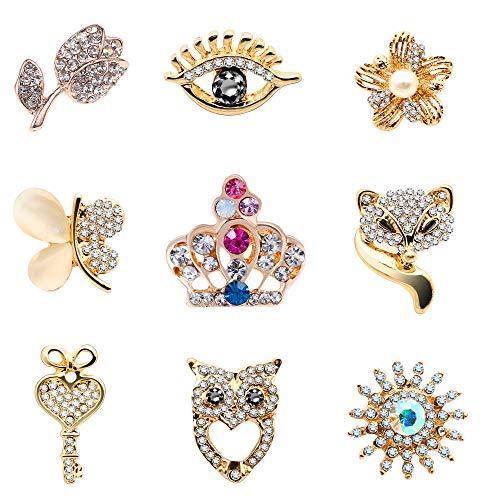 KENYG 9 Stück Kristallblumen, Kronenauge, Stinger, Broschen für Kleidung, Kragen, Taschen, Zubehör