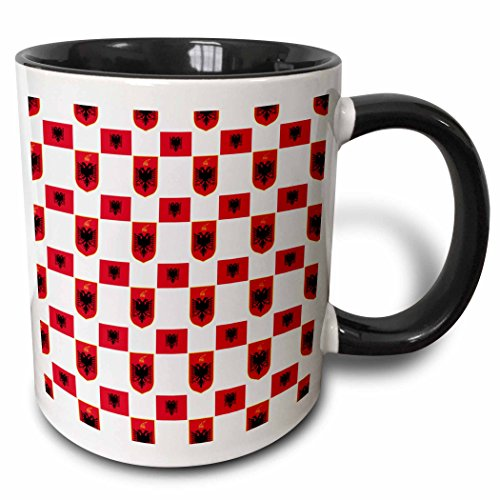 3dRose mug_63232_4'The flag and Coat of Arms of the Republic of Albania make a colorful patriotic Albanian pattern' Two Tone Black Mug, 11 oz, Multicolor