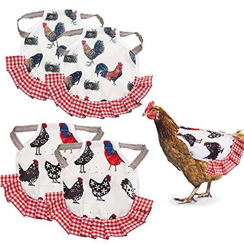 4pcs Standard Chicken Saddle, Hen Apron with Elastic Straps, for Medium Sized Poultry,Care chicken accessories (4 Pieces)
