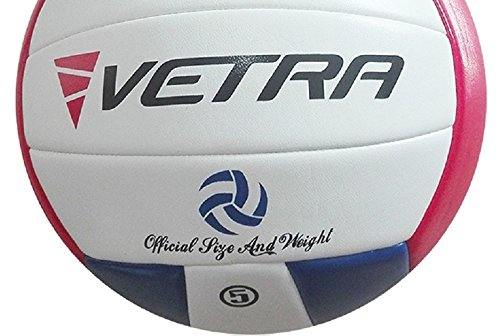 VETRA Volleyball Soft Touch Volley Ball Official Size 5 Outdoor Indoor Beach Gym Game Ball New (Blue/Red/White)