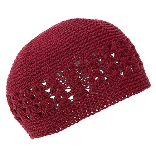 Knit Kufi Hat - Koopy Cap - Crochet Beanie (Burgundy)