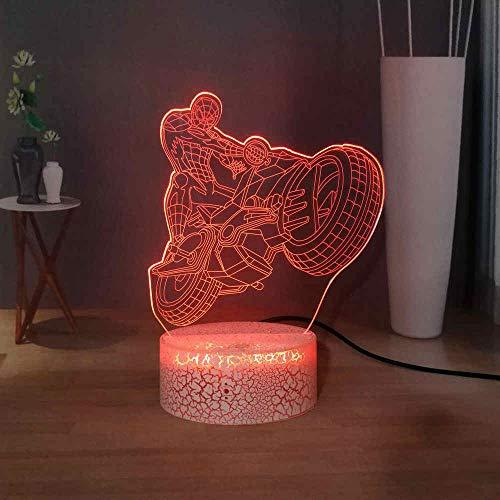 Buntes Nachtlicht 3D LIDMotorrad Neuheit Spider-Man Nachtlicht Farbe Touch Mr. Schreibtischlampe Studienlampe Tischlampe Cooles Kindergeschenk