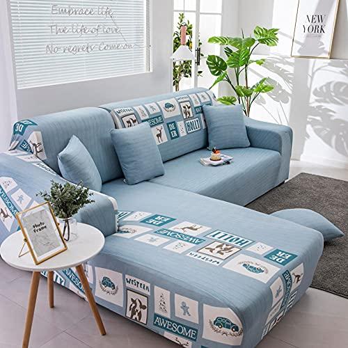 Funda Sofa 1 Plaza Foto Azul Fundas para Sofa con Diseño Universal,Cubre Sofa Ajustables,Fundas Sofa Elasticas,Funda de Sofa Chaise Longue,Protector Cubierta para Sofá