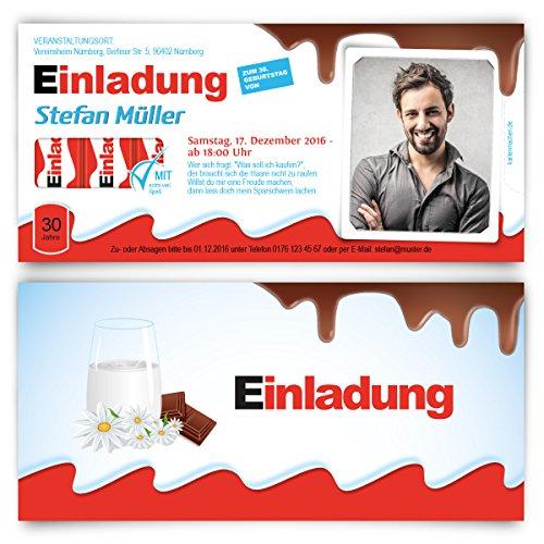 Einladungskarten Geburtstag (30 Stück) - Schokolade für Kinder Motiv mit Foto - Geburtstagseinladungen