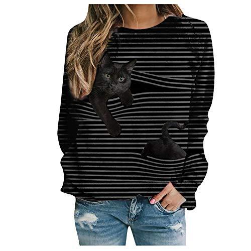 Masrin Mask Damen T-Shirt Casual Cat Animal Stripe Print Pullover Langarm O-Ausschnitt Sweatshirt Top Bluse(M,Hellblau)