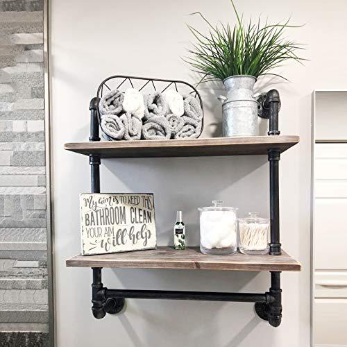 Del Hutson Designs Floating 24 Inch Wooden 3-Tier Industrial Shelf with Towel Bar, Dark Walnut