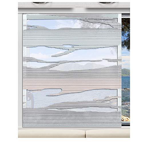 SeGaTeX home fashion Flächengardine Wohnwagenstore Eltje weiß-grau-grün Sherli-Muster Caravan-Gardine mit PVC-Profilen Tunnelband für Gleiter