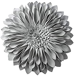JWH Handmade 3D Flowers Accent Pillow Round Sunflower Cushion Decorative Pillowcase with Pillow Insert Home Sofa Bed Living Room Decor Gift 12 Inch / 30 cm Solid Suede Light Gray
