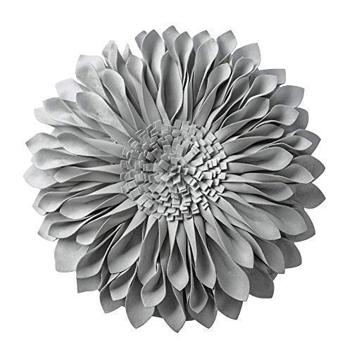 JWH 3D Flower Throw Pillow Cover Handmade Pillow Case Sunflower Decorative Cushion Pillowcase Round Pillow Filler Home Sofa Bed Living Room Guest Room Decor Girl Gift 12 Inch Light Gray